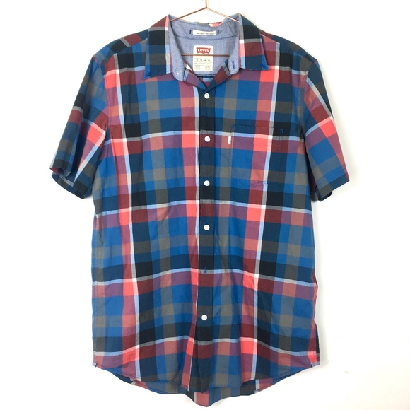 Levi's Other - Levi's Plaid Collar Button Down Blue Red XL